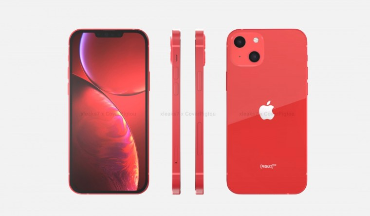 Apple iPhone 13 in Product Red appears in renders