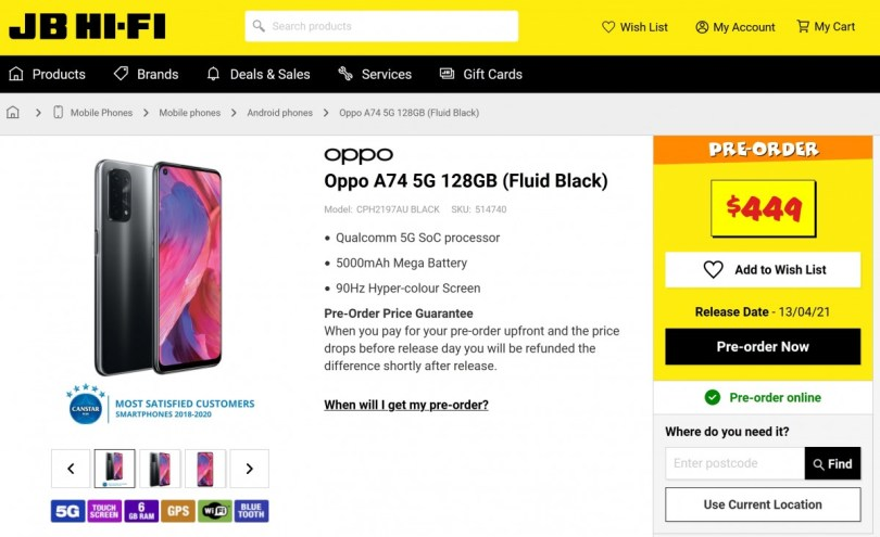 Oppo A74 5G store listing features a 90Hz LCD display, and a quad camera setup and $340 price tag