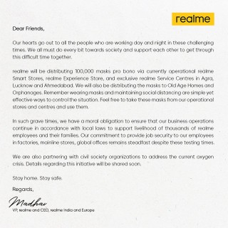 Realme will be distributing free masks to help people stay safe