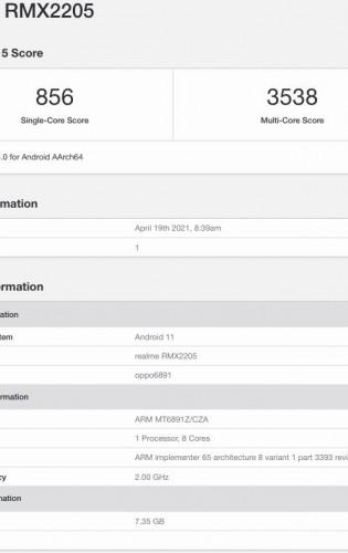 Realme Q3 Pro on TENAA and Geekbench