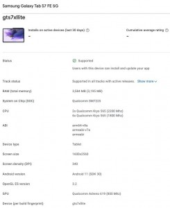 Samsung Galaxy S20 FE (GTS7XLITE) listed on the Google Play Console