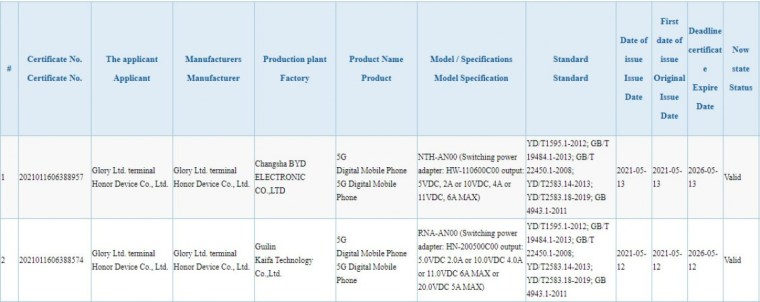 Honor 50 and 50 Pro receive 3C certification confirming 66W and 100W charging