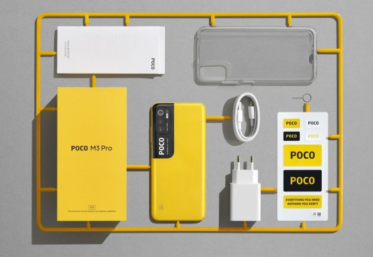 The Poco M3 Pro 5G retail package includes a 22.5W charger, USB-C cable and a transparent case