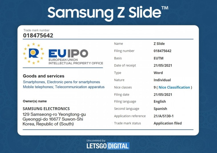 "Samsung trademarks ""Z Slide"" smartphone name with European IP Office"
