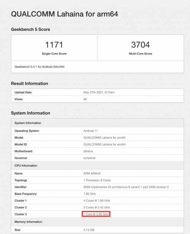 Snapdragon 888+ listing on Geekbench
