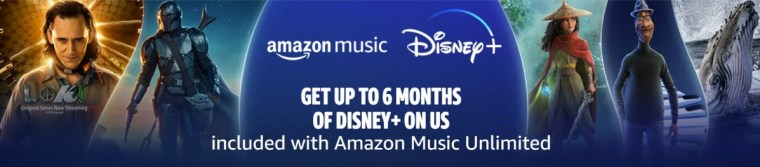 Amazon offers up to 6 months of Disney+ for free with an Amazon Music Unlimited subscription