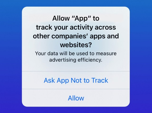 Apple's App Tracking Transparency prompt on iOS