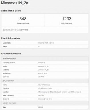 Skor Geekbench 5: Micromax Dalam 2c