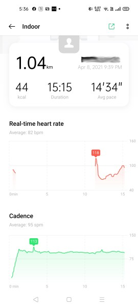 The Oppo Band Style didn't record heart rate during workout at times
