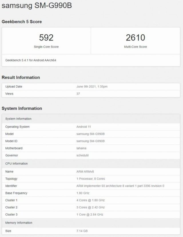 Samsung Galaxy S21 FE with 8GB of RAM shows up on Geekbench