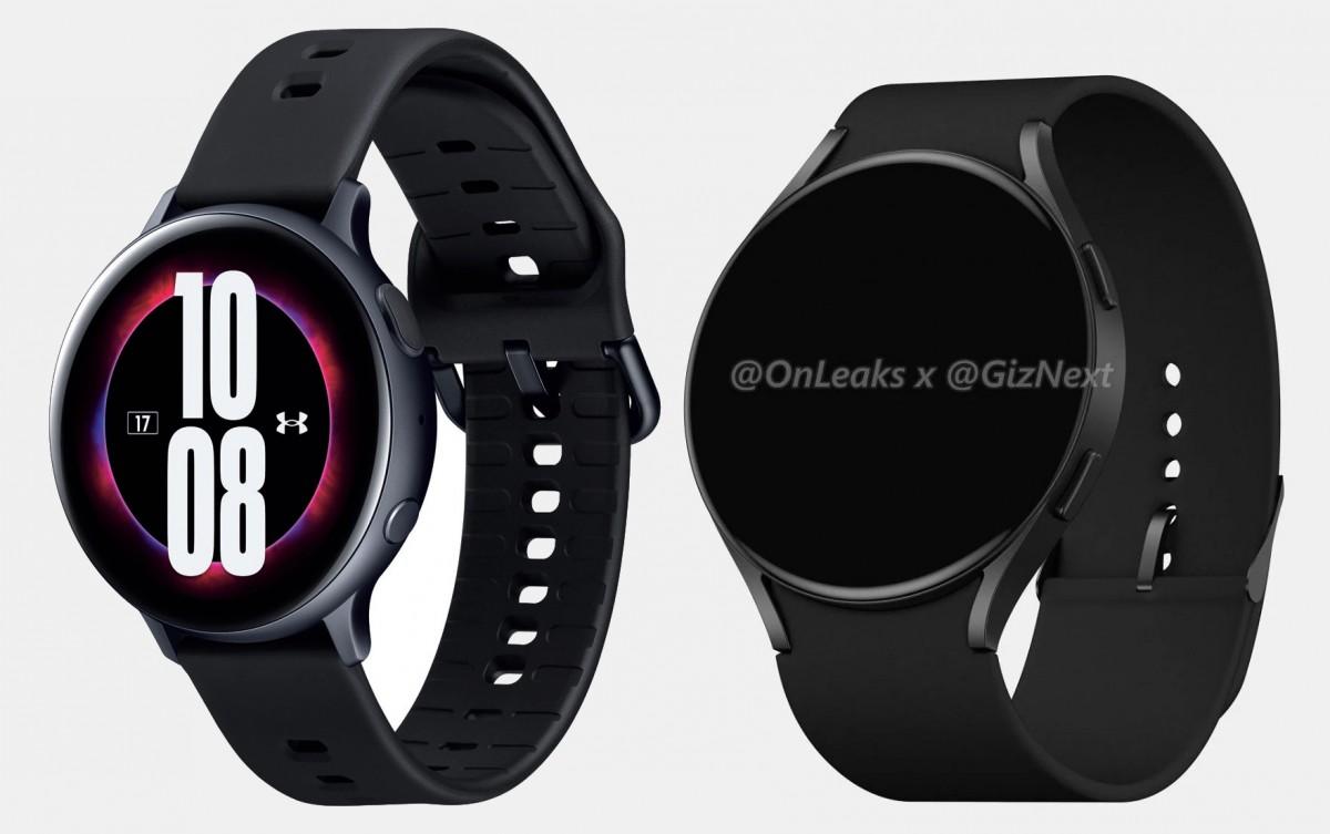 Galaxy Watch Active2 saat ini (kiri) dan render Watch Active4 (kanan)