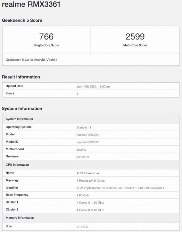Realme Master Edition Geekbench listing