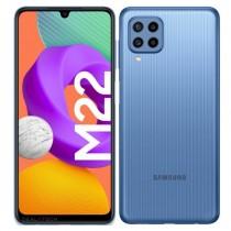 Samsung Galaxy M22 dalam warna hitam, biru dan putih