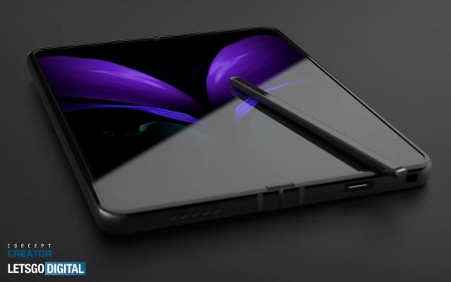 Galaxy Z Fold3 render with S Pen