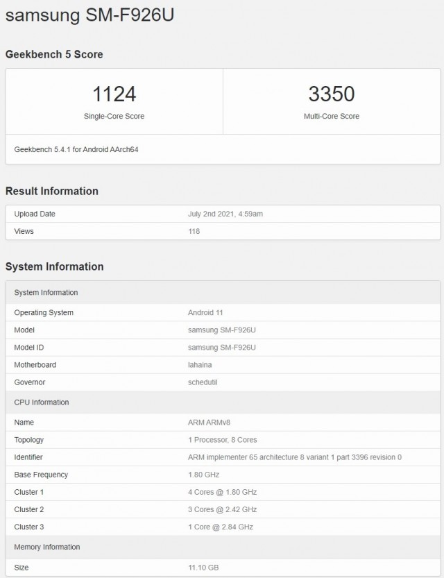 Samsung Galaxy Z Fold3 on Geekbench