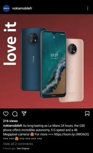 Menghapus posting Nokia G50 5G di Instagram (melalui NPU)