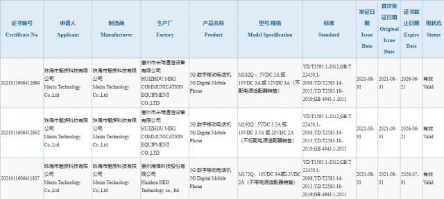 Meizu 18s, 18s Pro dan 18x listing di database 3C