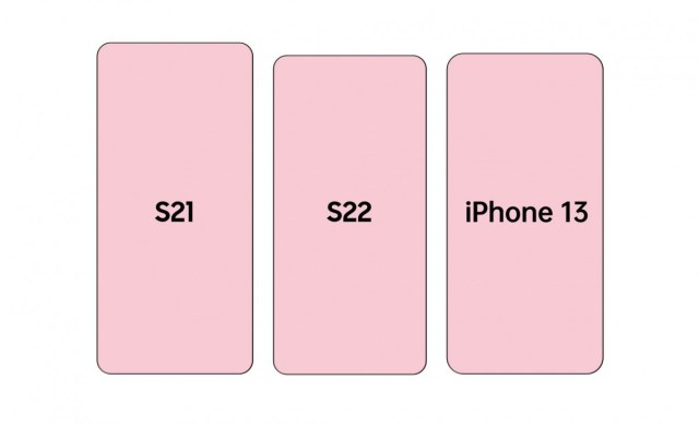 Here's a size comparison between the Samsung Galaxy S22 series and iPhone 13
