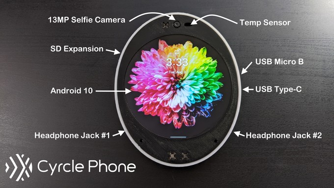 Kickstarter: Cyrcle Phone 2.0 memiliki layar bundar, dua jack headphone, dan dua port USB