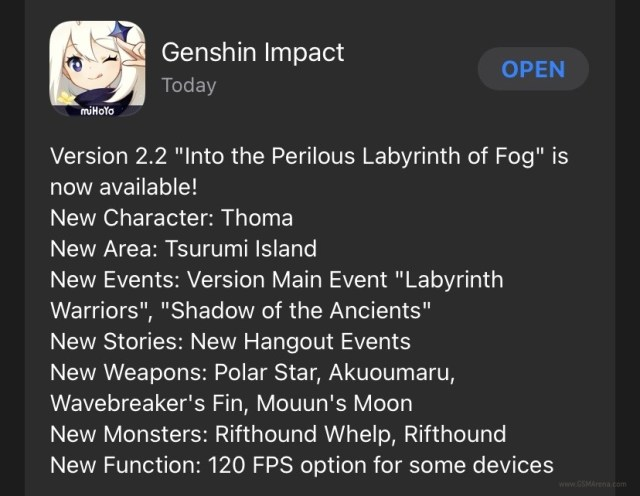 Genshin Impact gets 120fps support on iOS