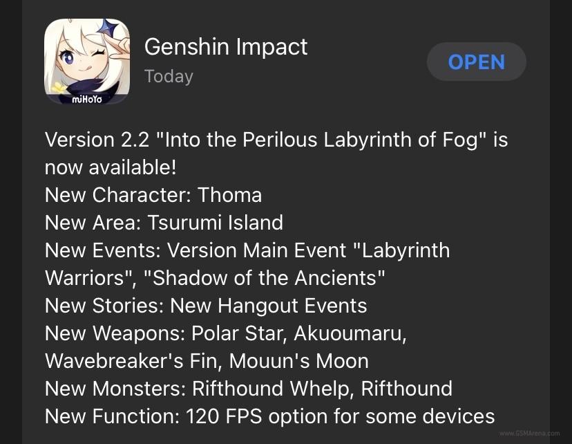 Genshin Impact mendapat dukungan 120fps di iOS