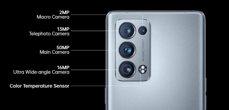 Camera setup of the Oppo Reno6 Pro (Snapdragon 870 version)