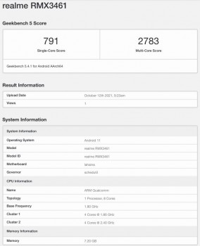 Realme Q3s with a Snapdragon 778G running Geekbench