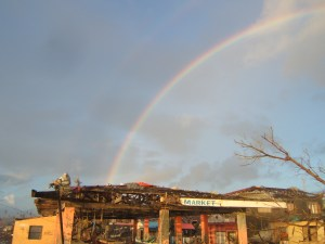 Rainbow over the devastated Giporlos Fish Market