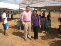 (left to right): Dale Asis of Bayanihan Foundation and Marfe Quinlat, Municipality of Dingle Agricultural Officer, in charge of the cacao processing plant
