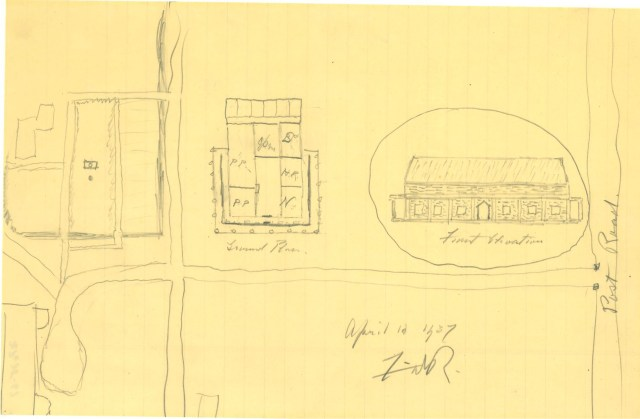Franklin D. Roosevelt's original pencil sketch of the FDR Library