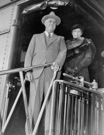 Franklin and Eleanor arrive in Washington, DC, following their trip to Hyde Park, November 8, 1935.