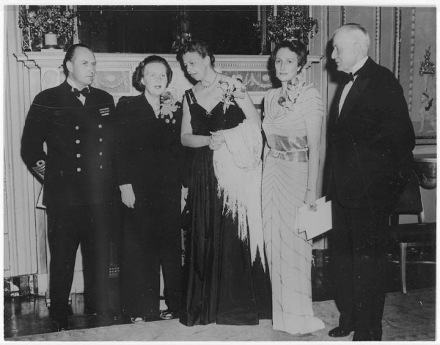 Eleanor Roosevelt and the Royal Family of Norway with Princess Juliana of the Netherlands and Thomas Watson, January 10, 1944