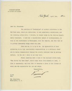 From FDR's Papers as President: President's Secreatry's File (PSF), Subject File: Astor, Vincent