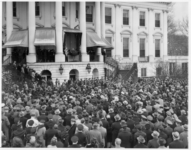 FDR delivers his fourth inaugural address from the balcony at the White House. January 20, 1945.