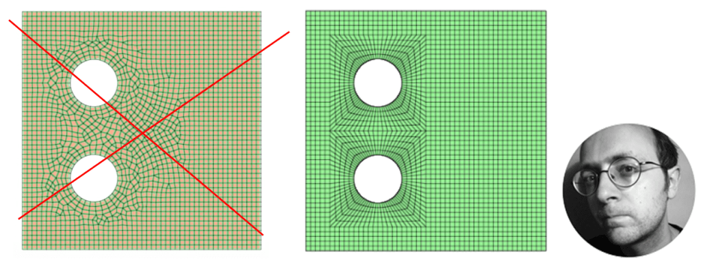 How to map-mesh manually a plate with 2 holes