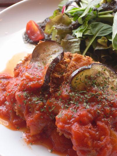 チキンカツ 秋茄子とトマトソース