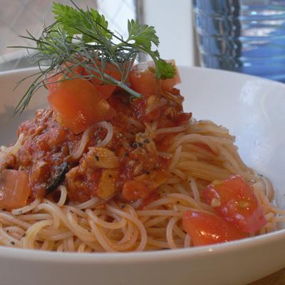 ツナとハーブの冷製トマトパスタ カッペリーニ
