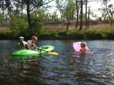 Jerry loved being up on the kayak with the kids