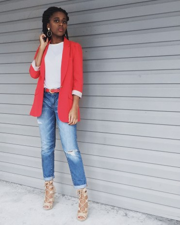 white t-shirt, red blazer, destroyed denim boyfriend jeans, red belt, gold hoop earrings, camel lace up heels