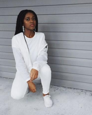 white t-shirt, transparent white rain coat, white skinny jeans, white vans, silver flower earrings