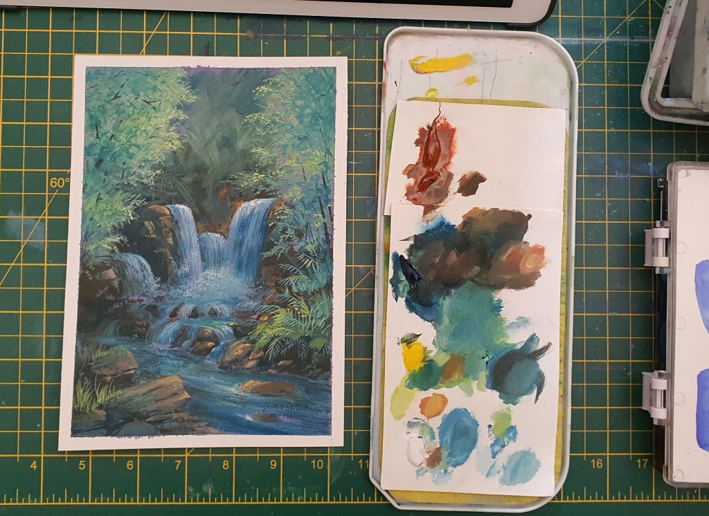 Forest waterfall gouche painting