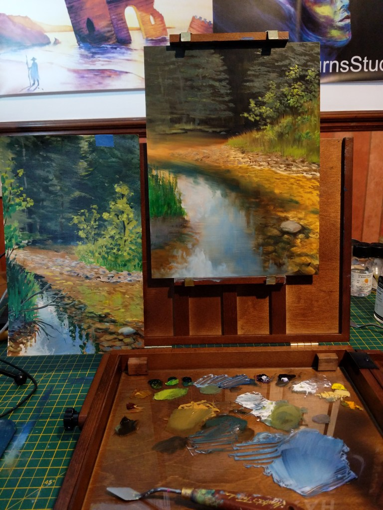 Third session of the Summer River oil painting.