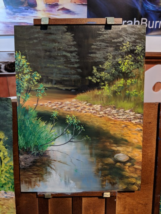 Fifth session of the Summer River oil painting.