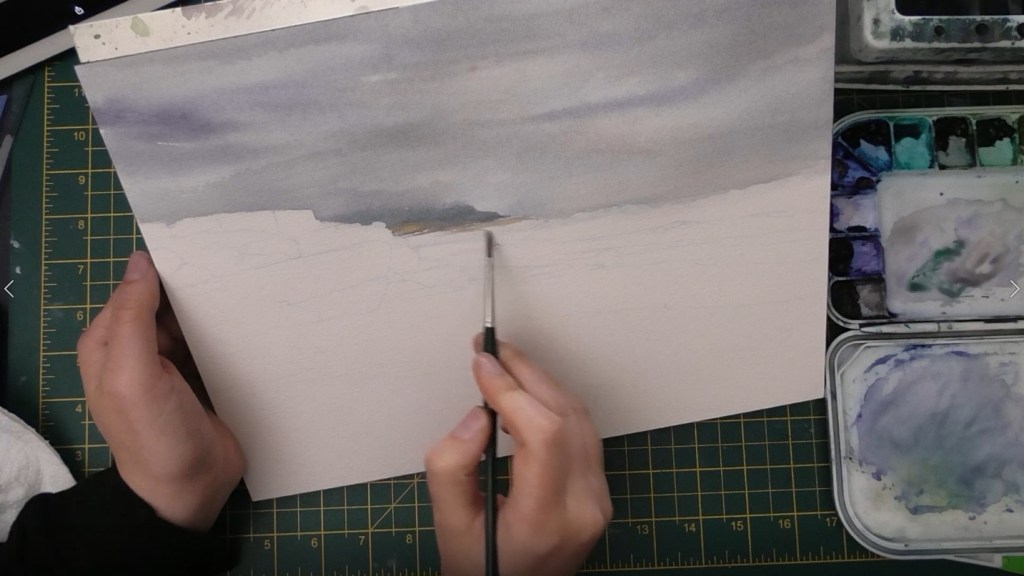 Beach with Wet Sand Watercolor tutorial step 2