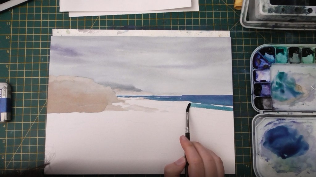 Beach with Wet Sand Watercolor tutorial step 4