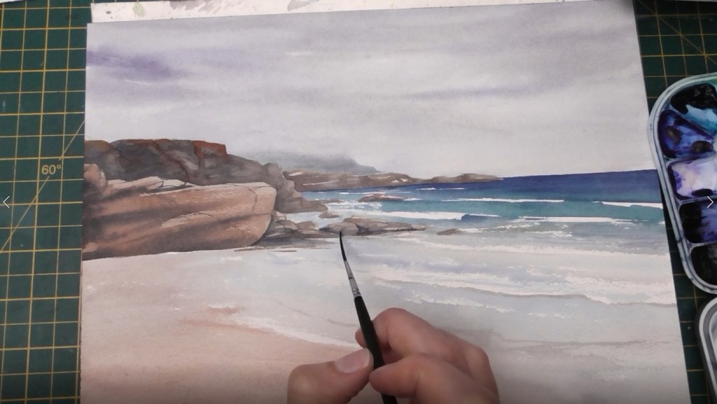 Beach with Wet Sand Watercolor tutorial step 7