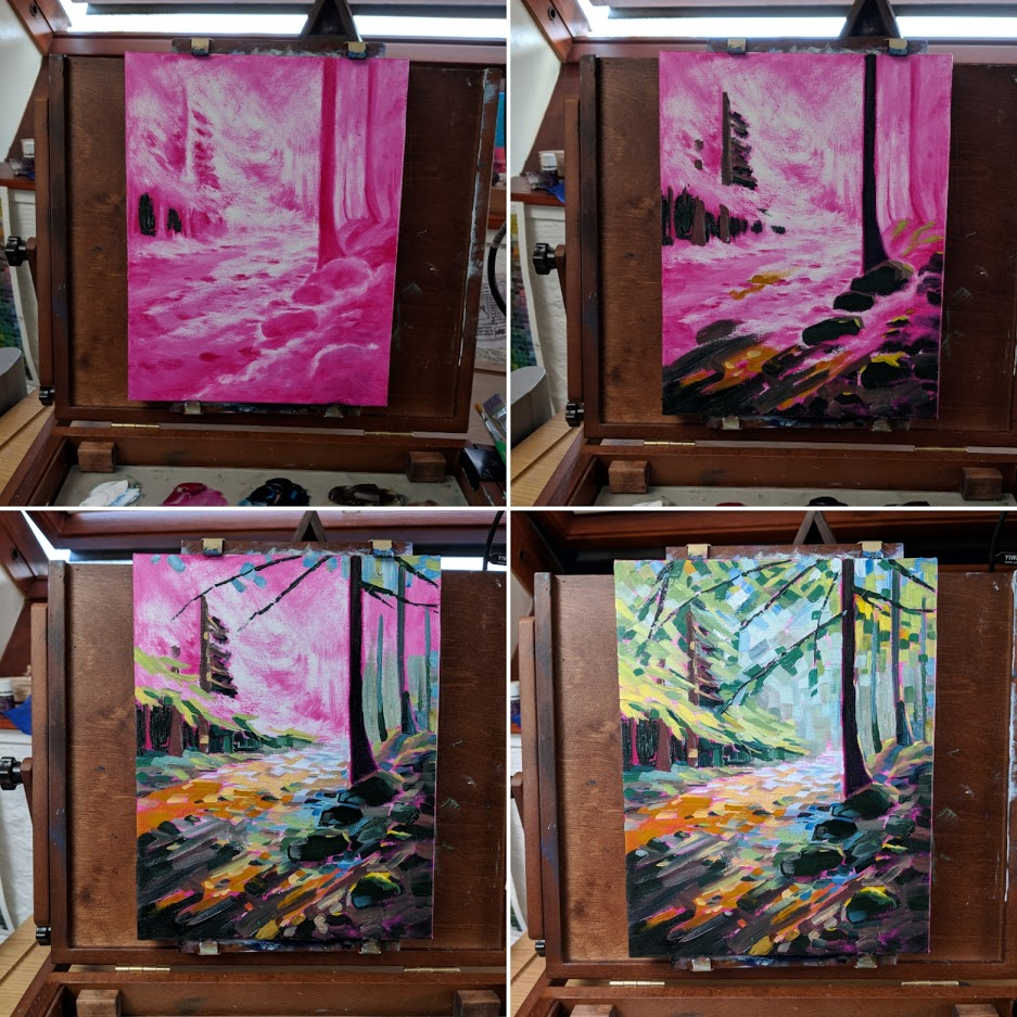 Forest light underpainting process