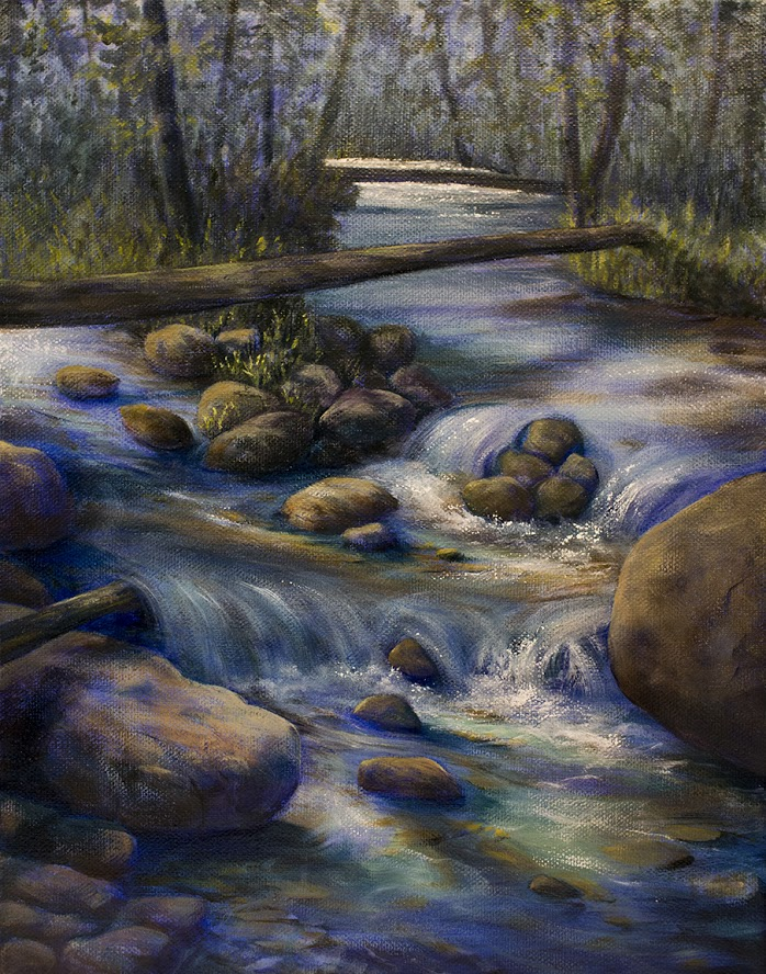Forest River oil painting with dappled light by Sarah Burns