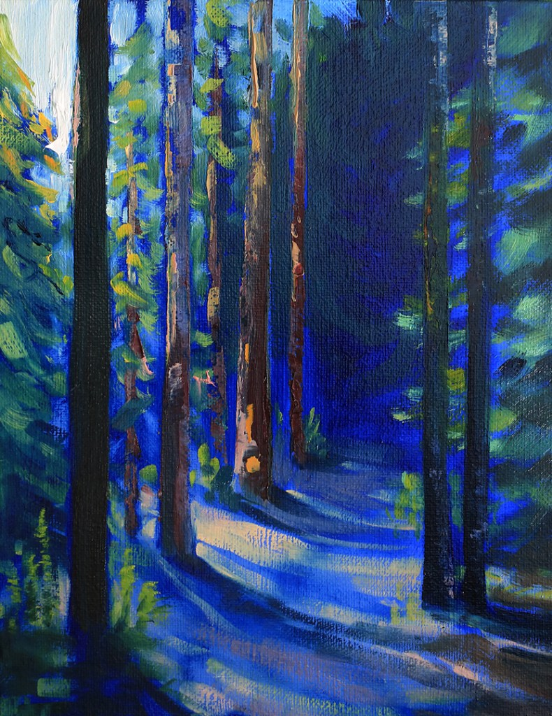Ord Hill forest painting by Sarah Burns