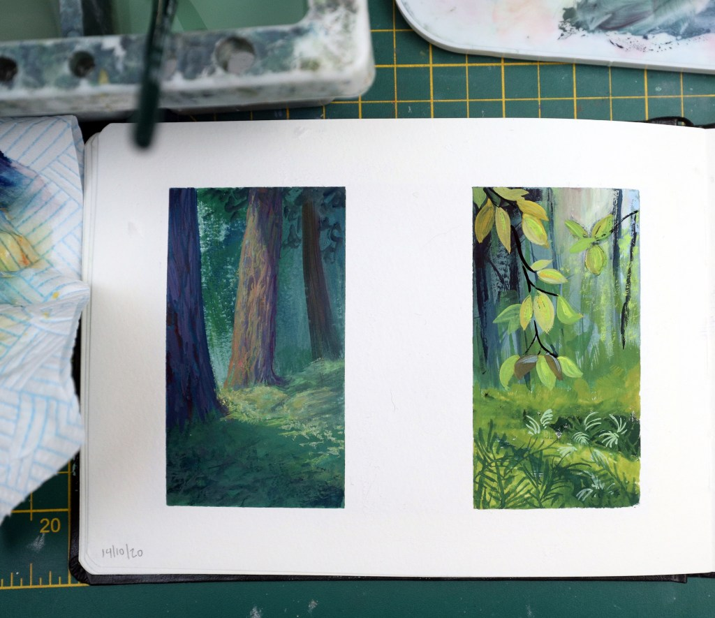 Small forest gouache studies